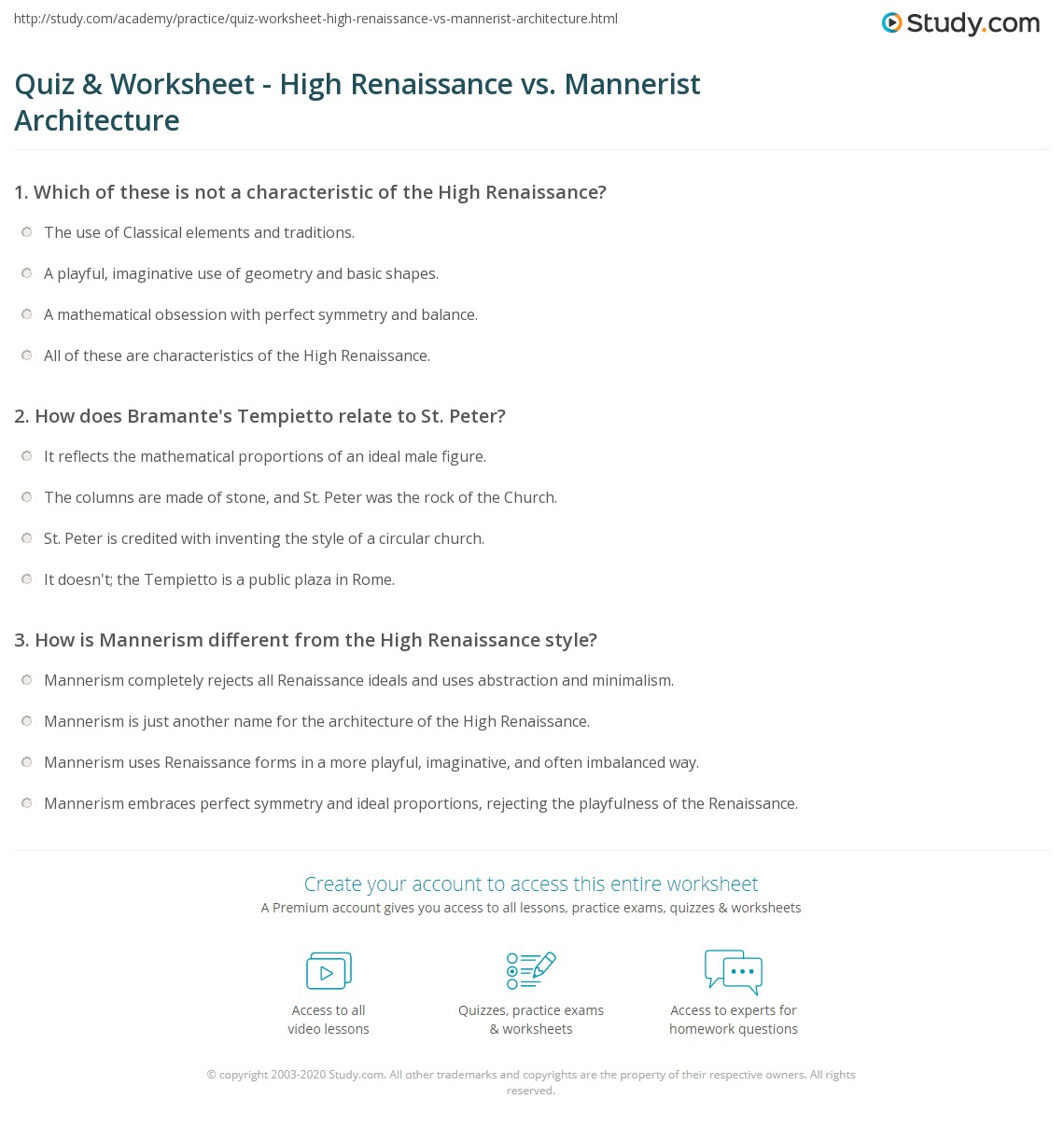 Quiz Worksheet High Renaissance vs Mannerist Architecture – Renaissance Worksheets