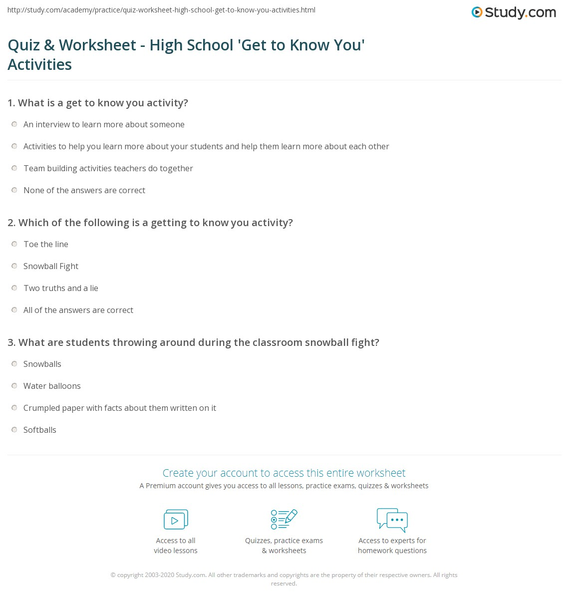 Quiz Worksheet High School Get to Know You Activities – Get to Know You Worksheets