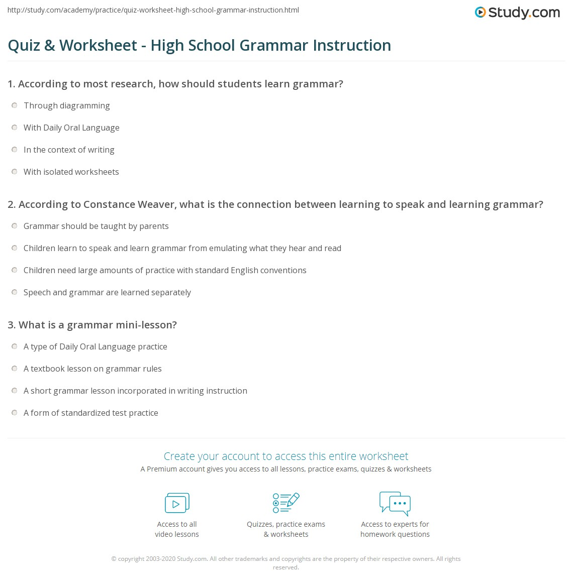 Grammar Worksheets High School: Quiz & Worksheet   High School Grammar Instruction   Study com,