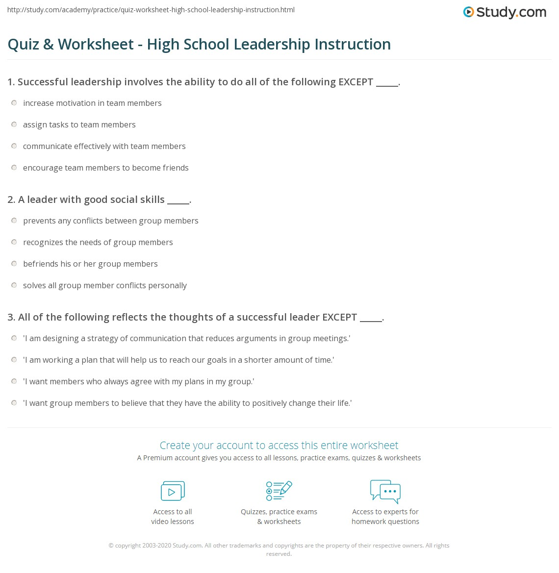 quiz worksheet high school leadership instruction com print teaching leadership to high school students worksheet