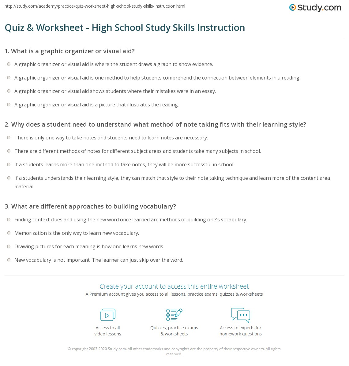 Quiz Worksheet High School Study Skills Instruction – Vocabulary Worksheets High School