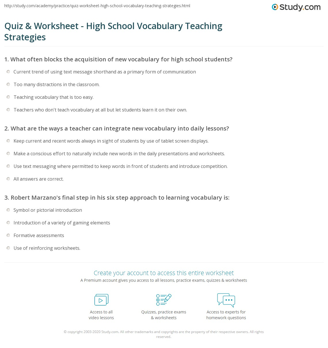 Uncategorized Vocabulary Worksheets High School quiz worksheet high school vocabulary teaching strategies print for teachers worksheet