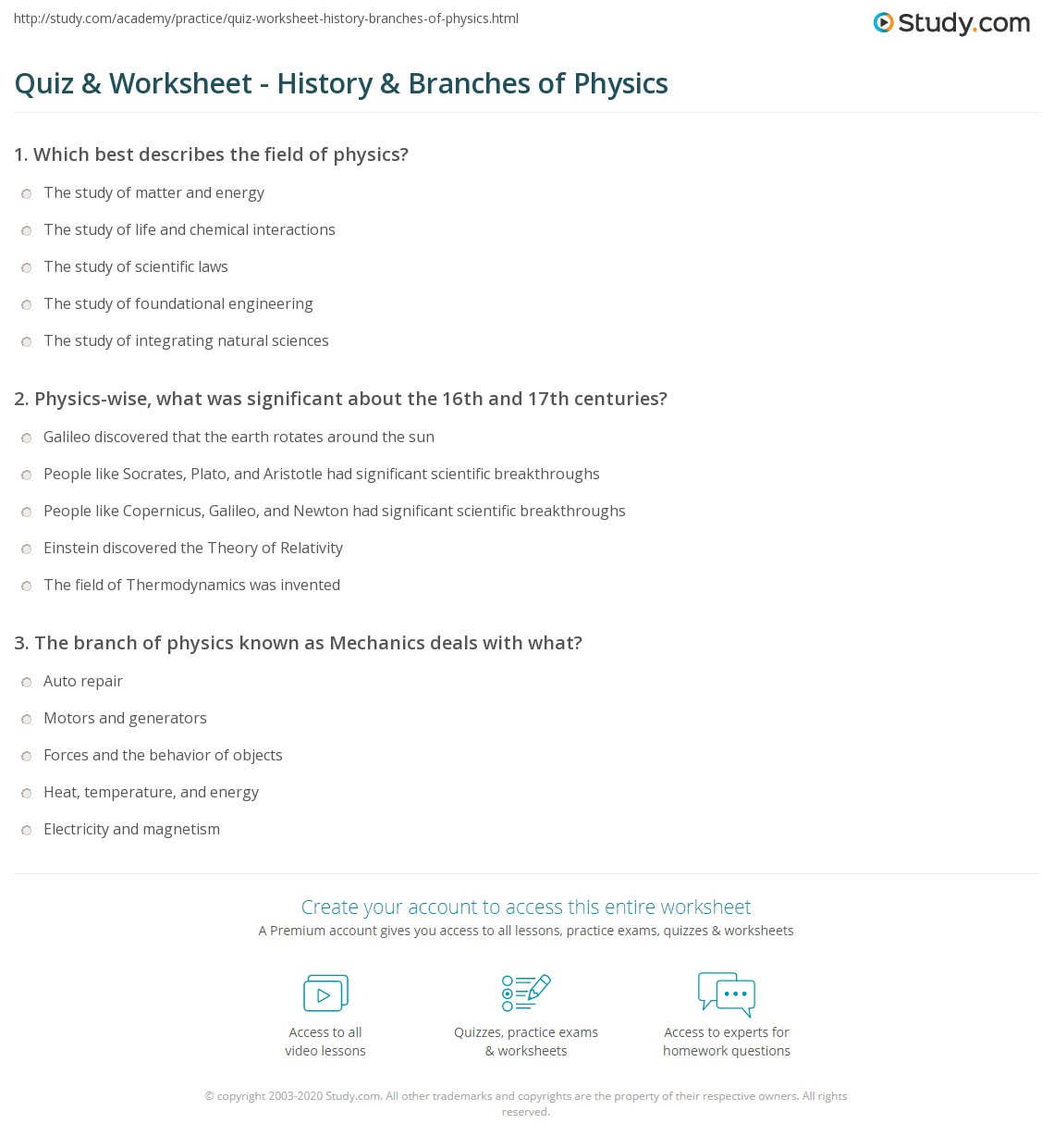 Quiz & Worksheet - History & Branches of Physics | Study.com