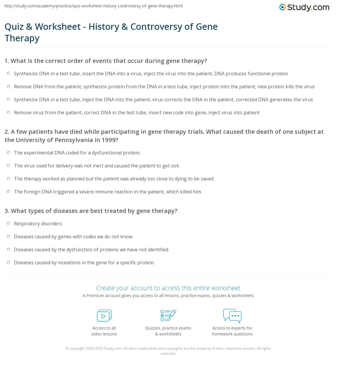 quiz worksheet history controversy of gene therapy. Black Bedroom Furniture Sets. Home Design Ideas