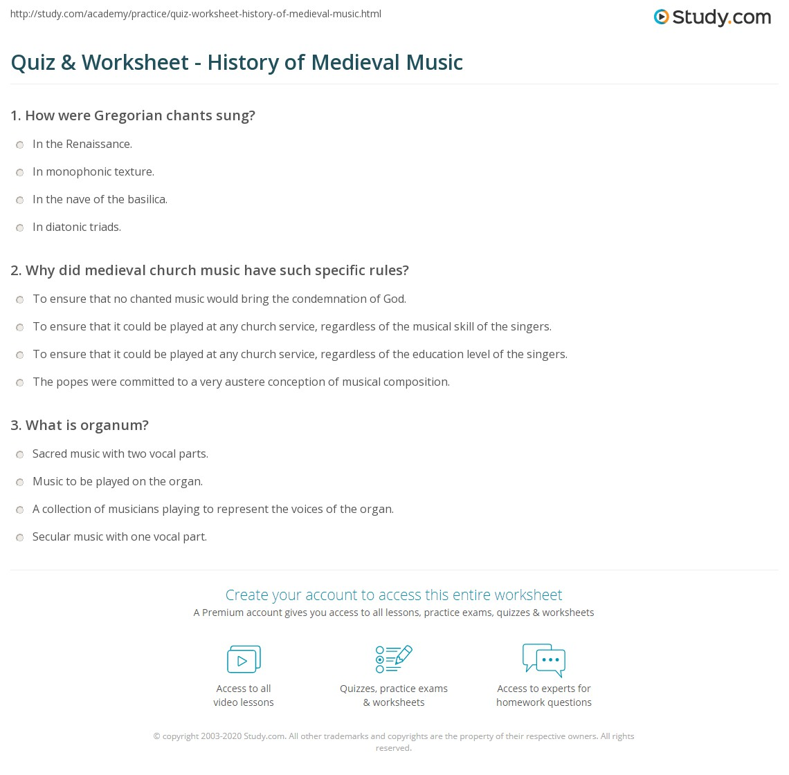 Quiz Worksheet History of Medieval Music – Music History Worksheets