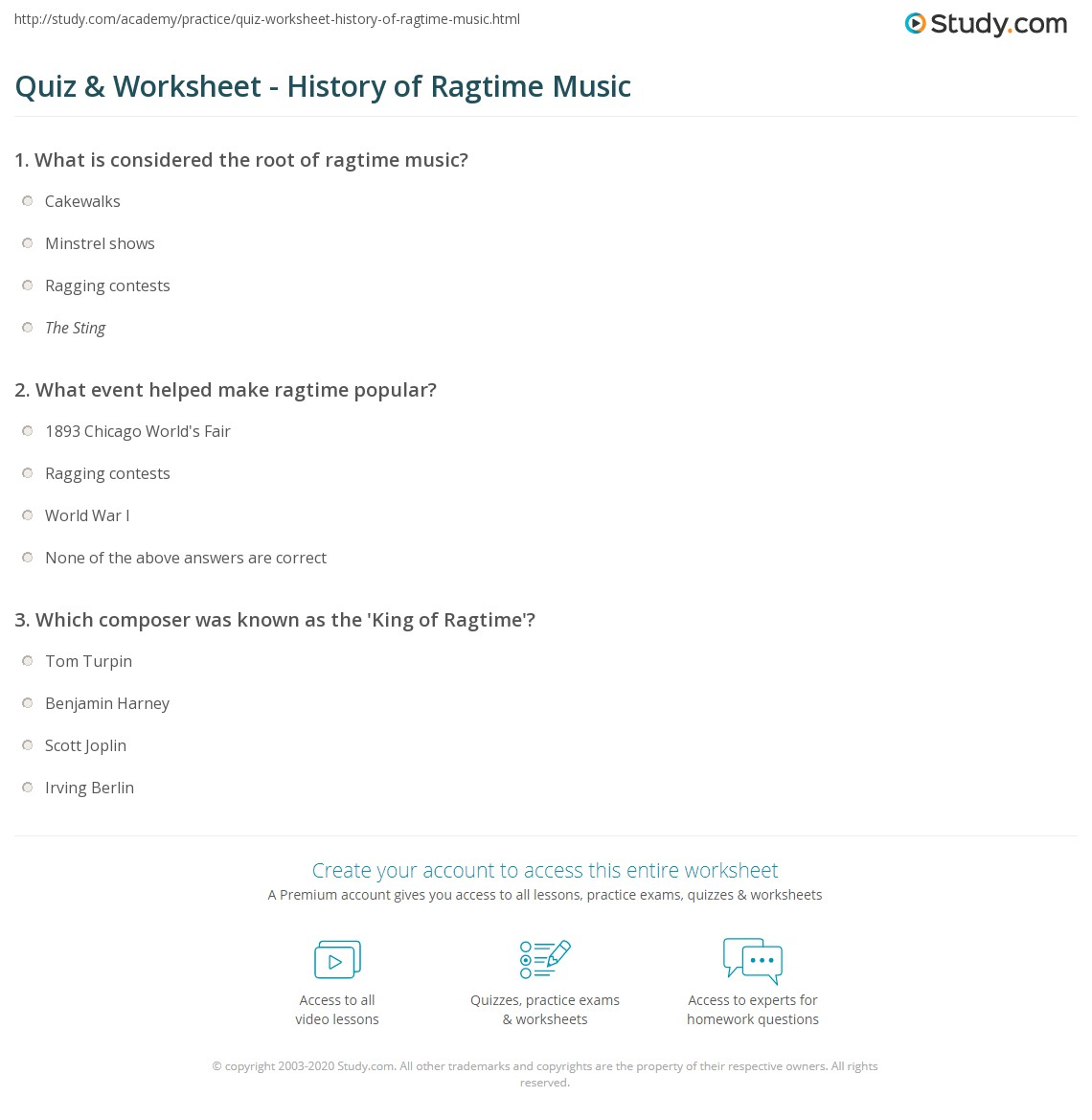 Quiz & Worksheet - History of Ragtime Music | Study.com