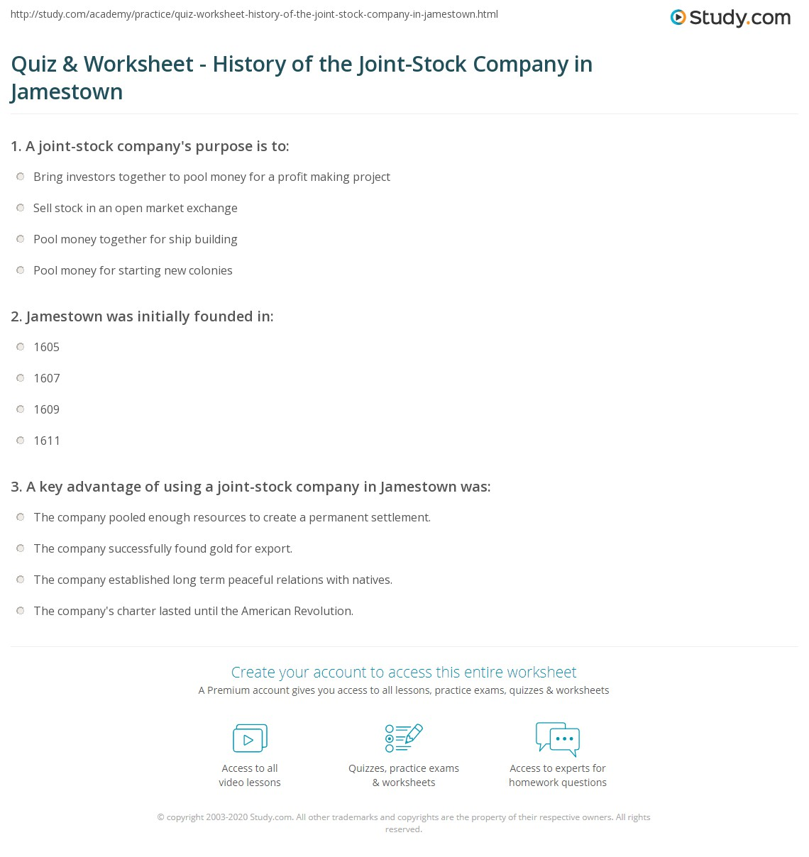Joint stock company - Print Joint Stock Company In Jamestown History Advantages Disadvantages Worksheet