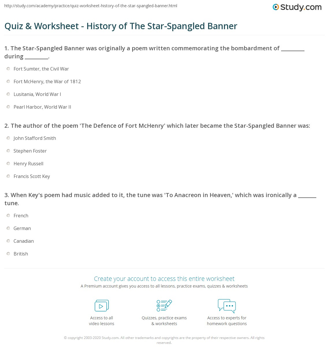 Quiz Worksheet History of The StarSpangled Banner – Star Spangled Banner Worksheet