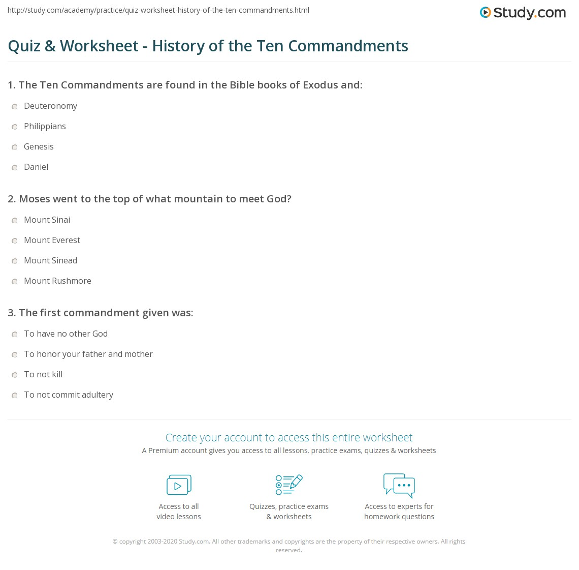 Printables 10 Commandments Worksheet quiz worksheet history of the ten commandments study com print what are definition worksheet