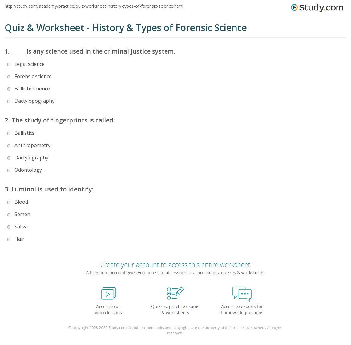 Worksheets Forensic Science Worksheets quiz worksheet history types of forensic science study com print what is definition worksheet