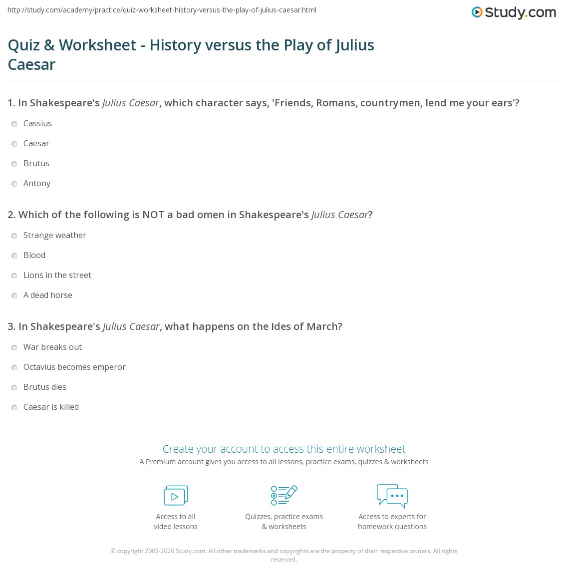 worksheet Julius Caesar Worksheets quiz worksheet history versus the play of julius caesar print shakespeares vs worksheet