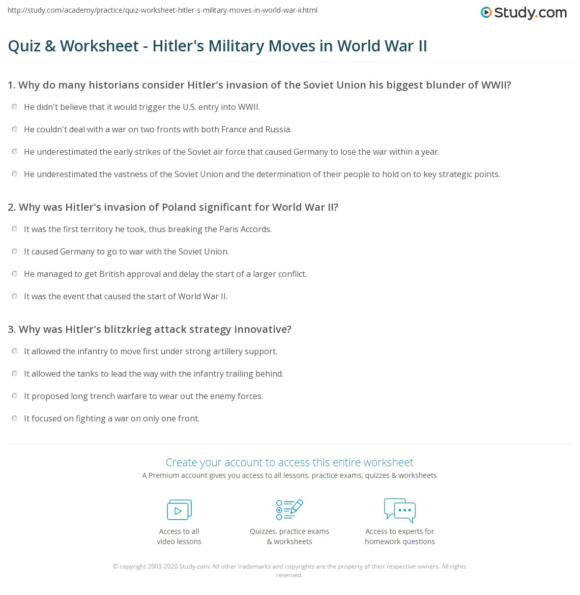 quiz worksheet hitler s military moves in world war ii com print hitler s military strategy goals in world war ii worksheet