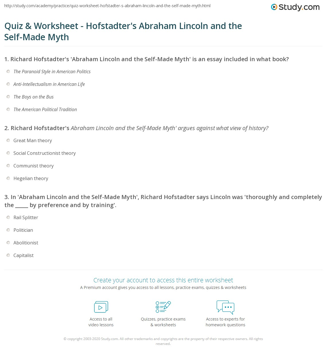 quiz worksheet hofstadter s abraham lincoln and the self made print richard hofstadter s abraham lincoln and the self made myth worksheet