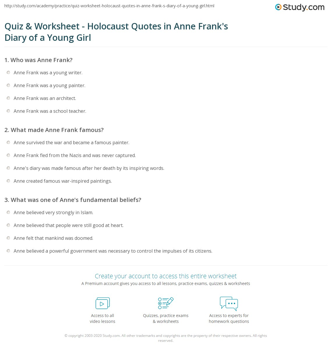 quiz worksheet holocaust quotes in anne frank s diary of a print holocaust quotes in anne frank s diary of a young girl worksheet