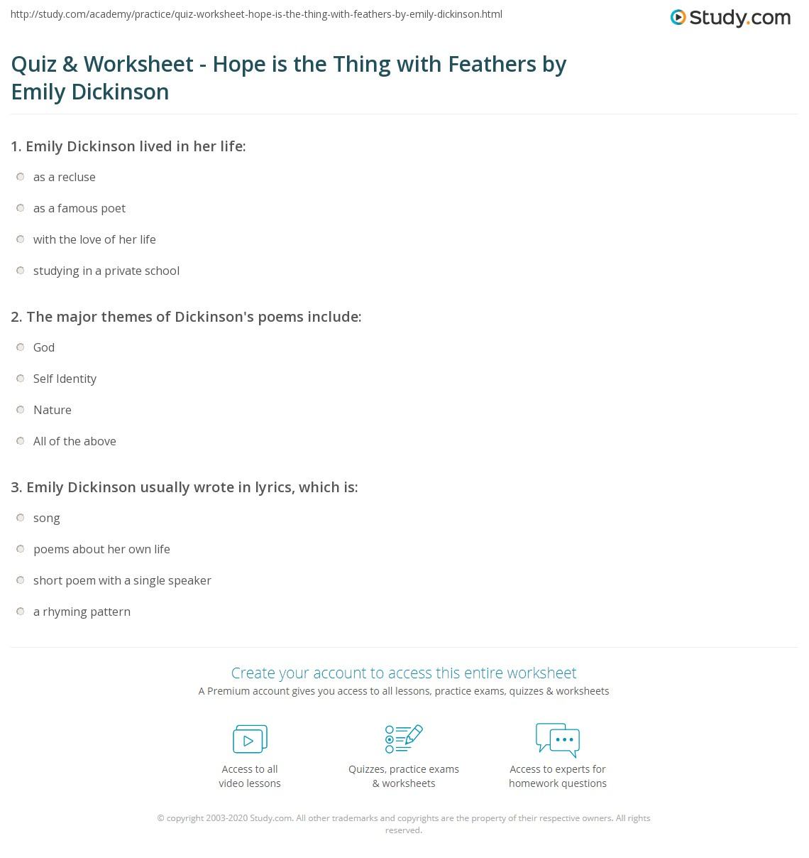 emily dickinson essay essay poetry english quiz worksheet hope is  quiz worksheet hope is the thing feathers by emily print emily dickinson s hope is the