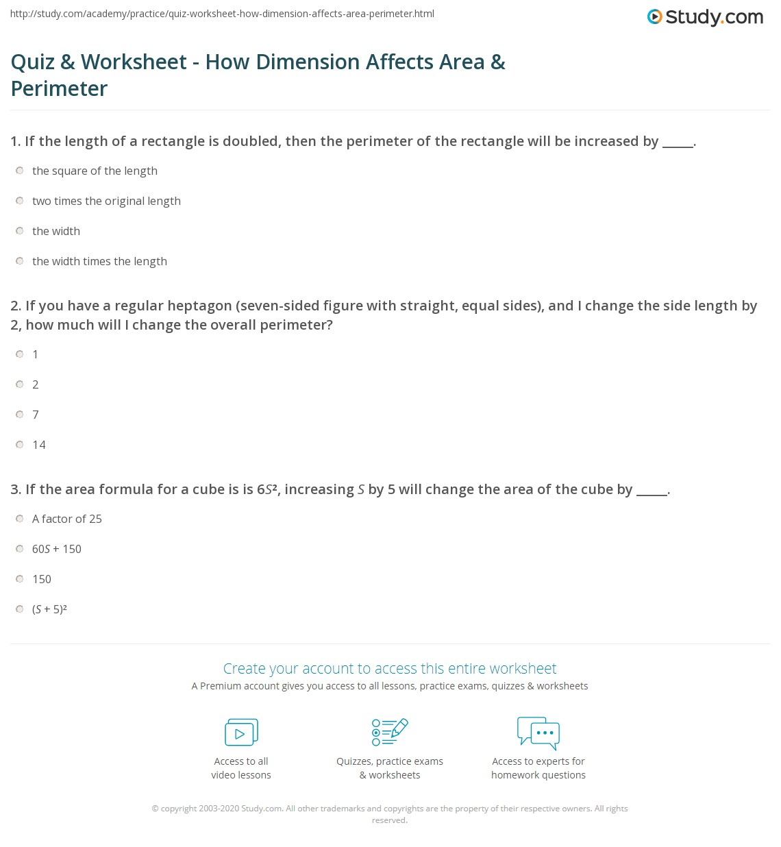 Quiz Worksheet How Dimension Affects Area Perimeter – Area and Perimeter Worksheet