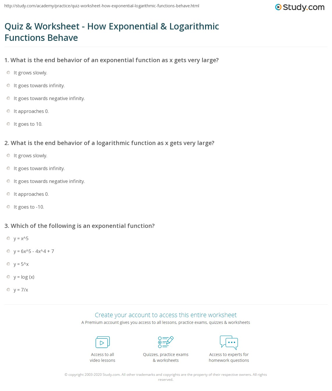 Quiz Worksheet How Exponential Logarithmic Functions Behave – Exponential and Logarithmic Functions Worksheets