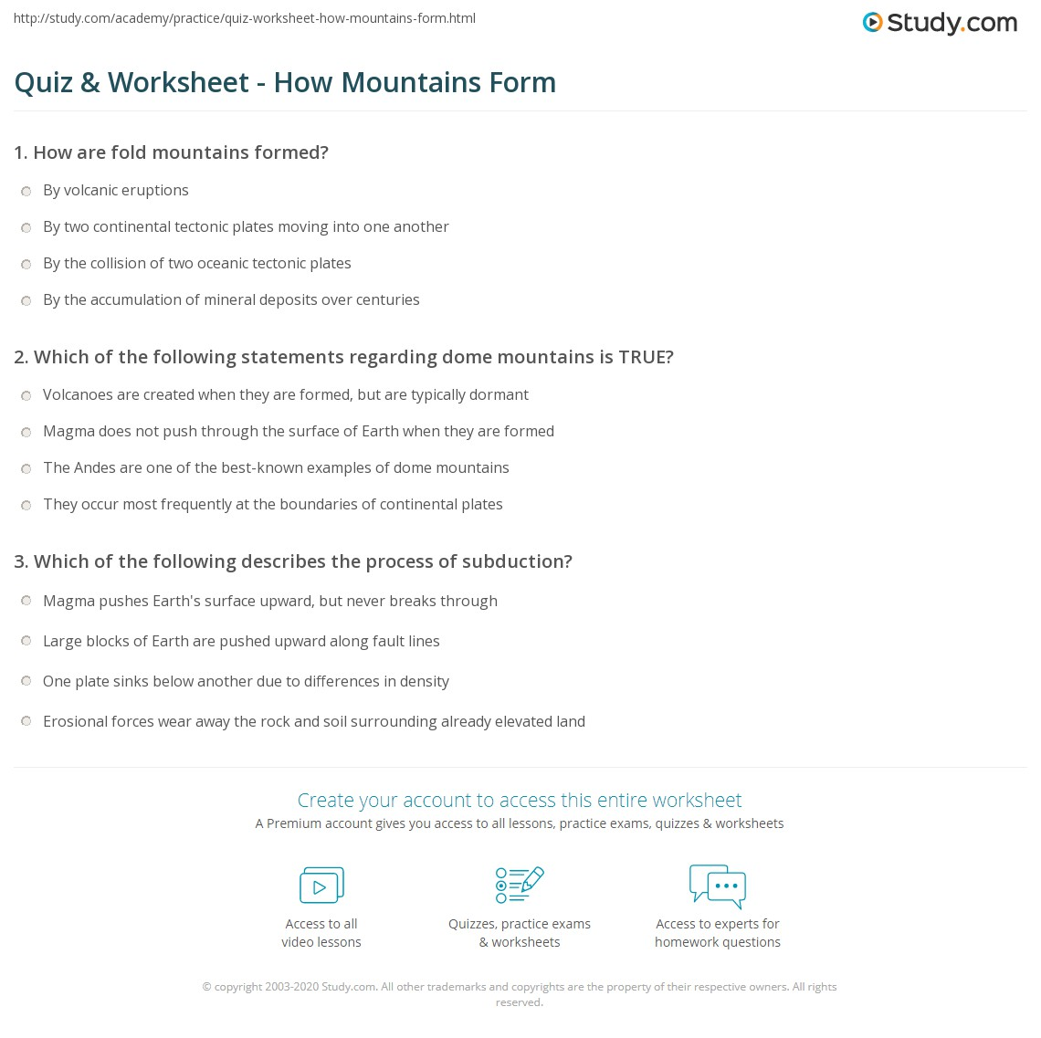 Quiz Worksheet How Mountains Form – Math Mountain Worksheets