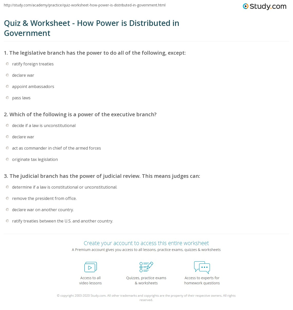 Quiz Worksheet How Power is Distributed in Government – Us Government Worksheets