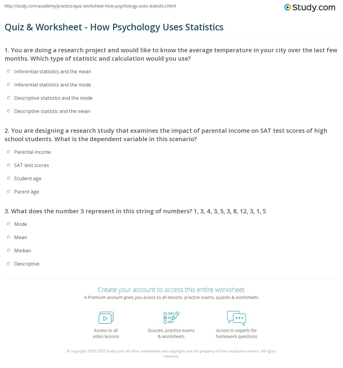 Worksheets High School Psychology Worksheets quiz worksheet how psychology uses statistics study com print application of in worksheet