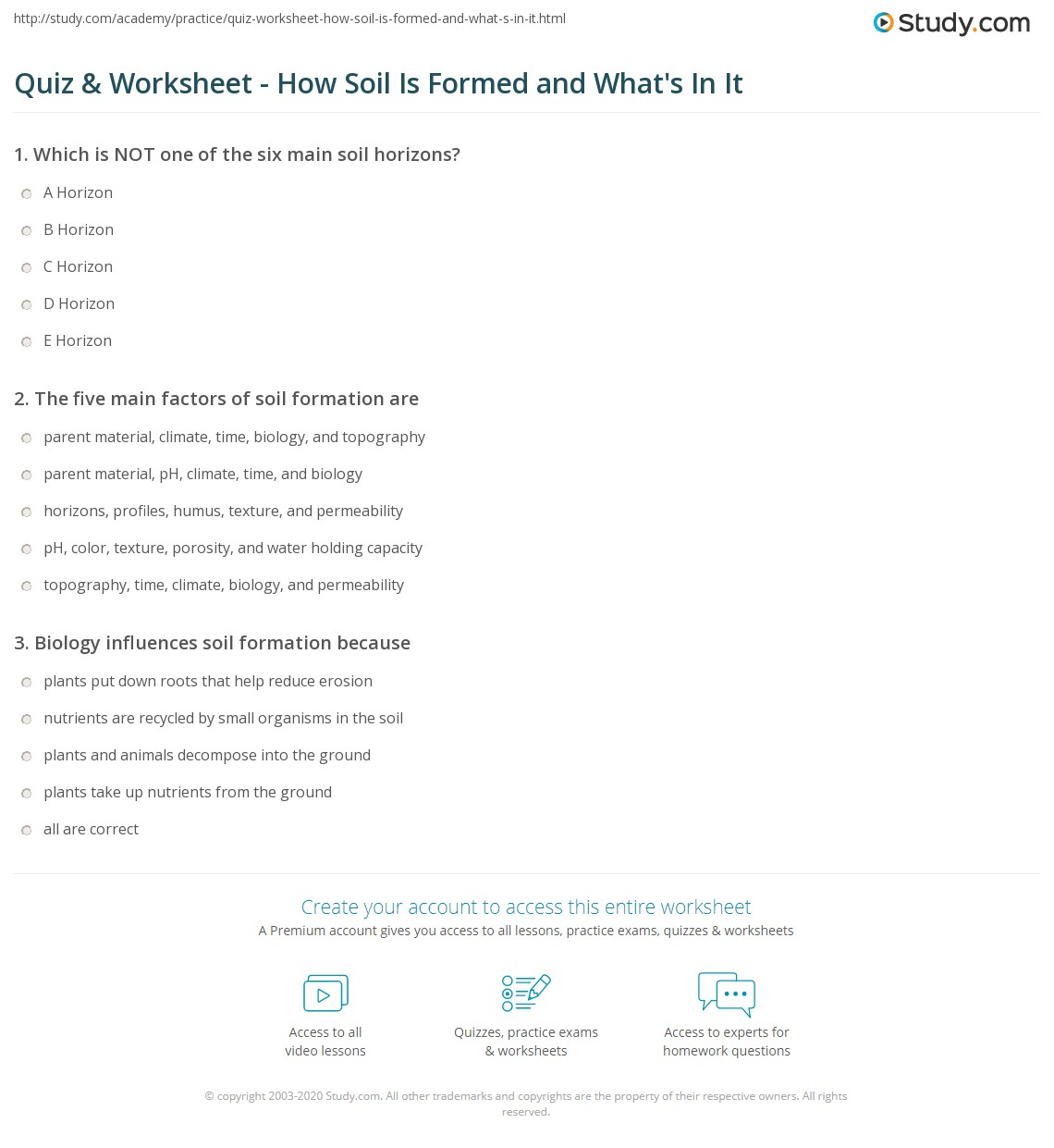 Quiz Worksheet How Soil Is Formed and Whats In It – Soil Layers Worksheet
