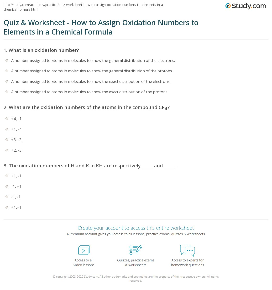 Quiz Worksheet How to Assign Oxidation Numbers to Elements in – Chemical Formulas and Equations Worksheet
