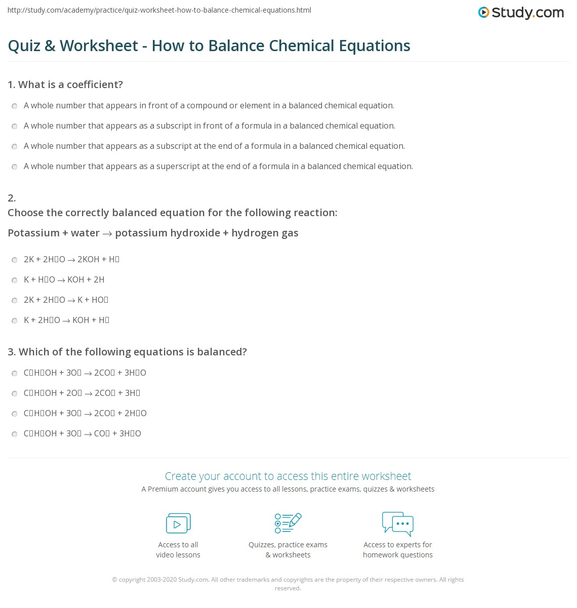 Quiz Worksheet How to Balance Chemical Equations – Balancing Chemical Reactions Worksheet 2