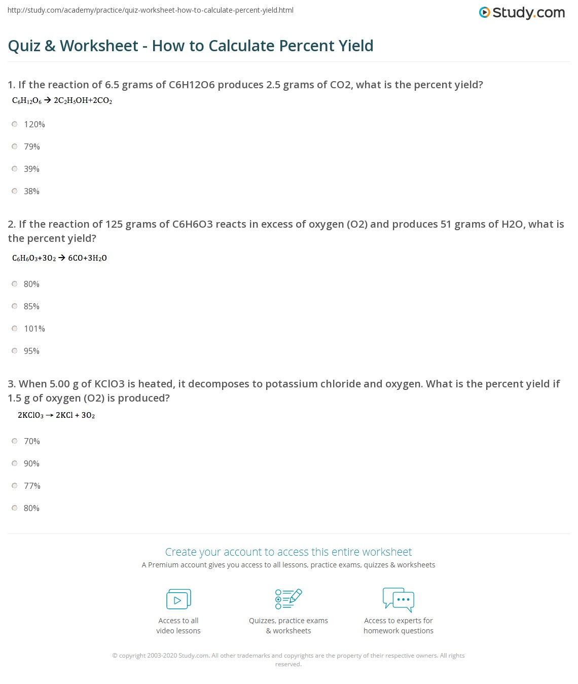 Quiz & Worksheet - How to Calculate Percent Yield | Study.com