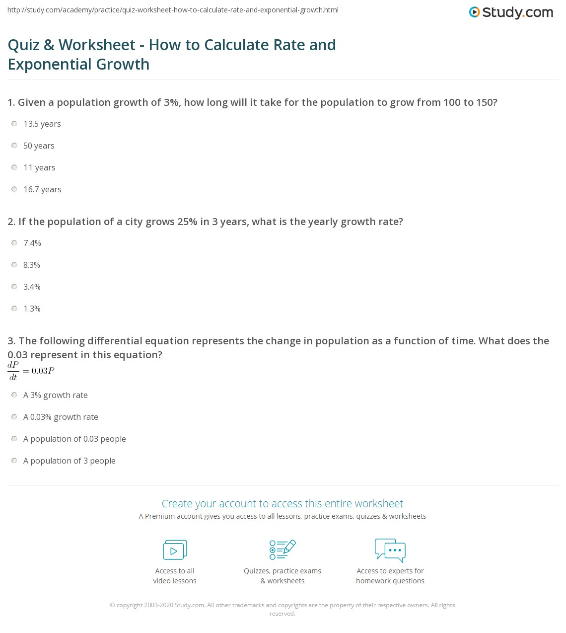 Printables Population Dynamics Worksheet quiz worksheet how to calculate rate and exponential growth print calculating the population dynamics problem worksheet