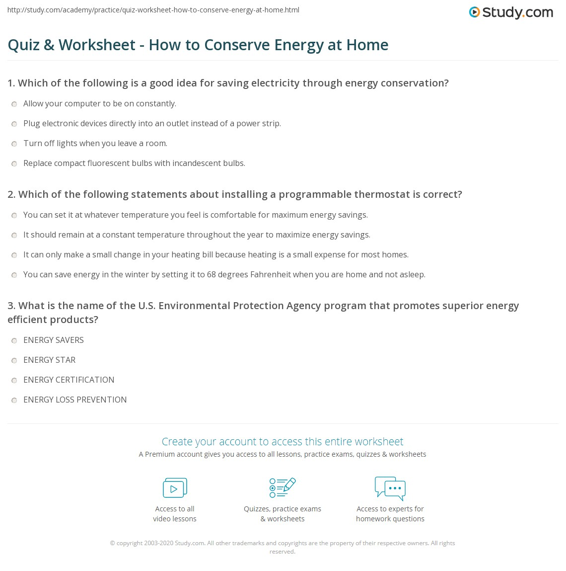 {Quiz Worksheet How to Conserve Energy at Home – Energy Conservation Worksheet