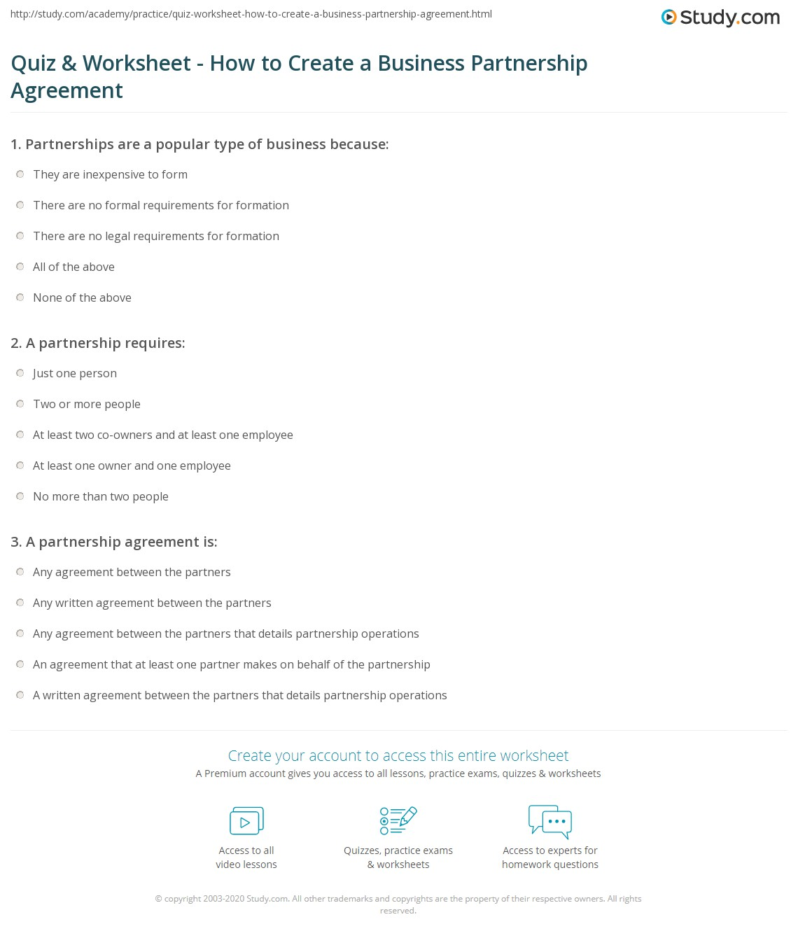 Quiz Worksheet How to Create a Business Partnership Agreement – Business Partner Agreement
