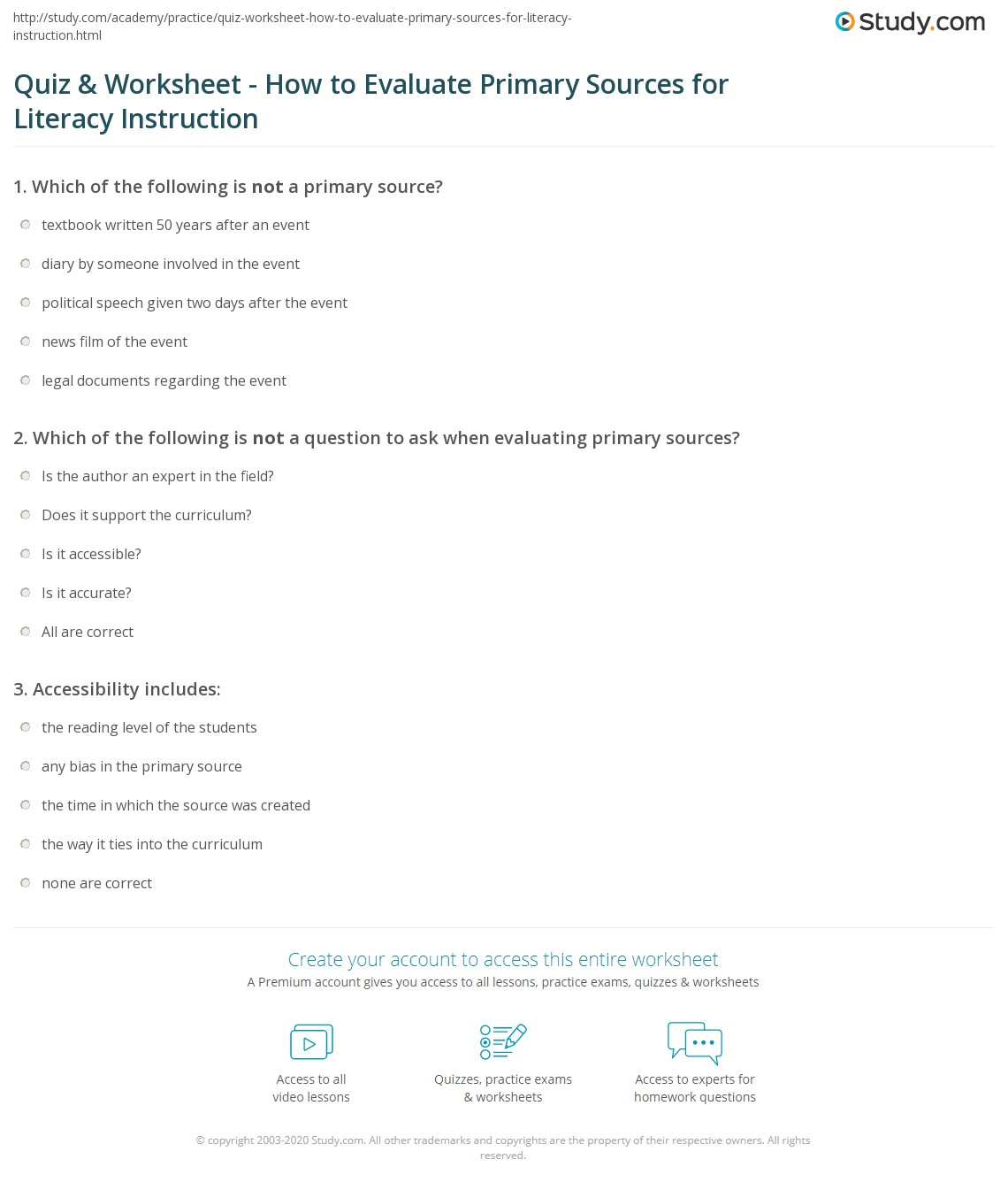 Quiz Worksheet How to Evaluate Primary Sources for Literacy – Primary Source Worksheet