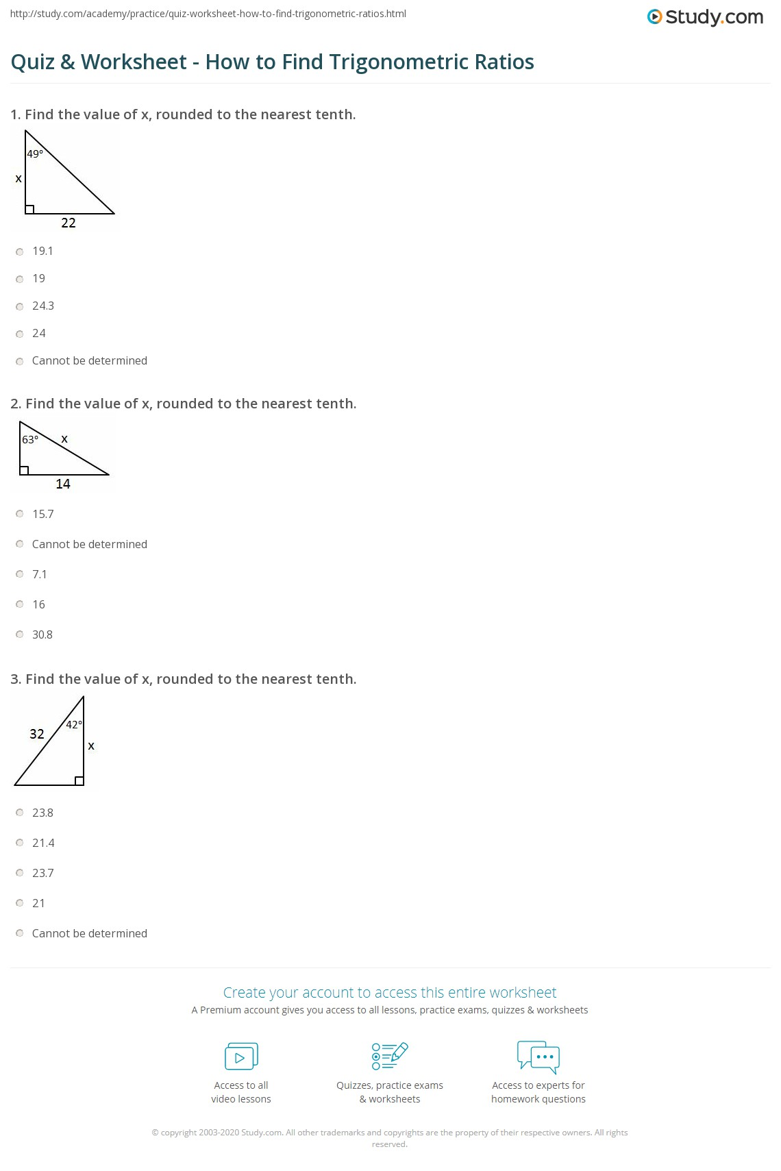 Quiz & Worksheet - How to Find Trigonometric Ratios | Study.com