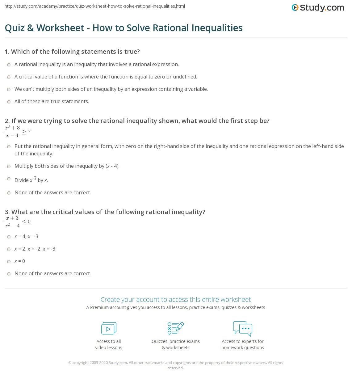 math worksheet : quiz  worksheet  how to solve rational inequalities  study  : Fraction Inequalities Worksheet