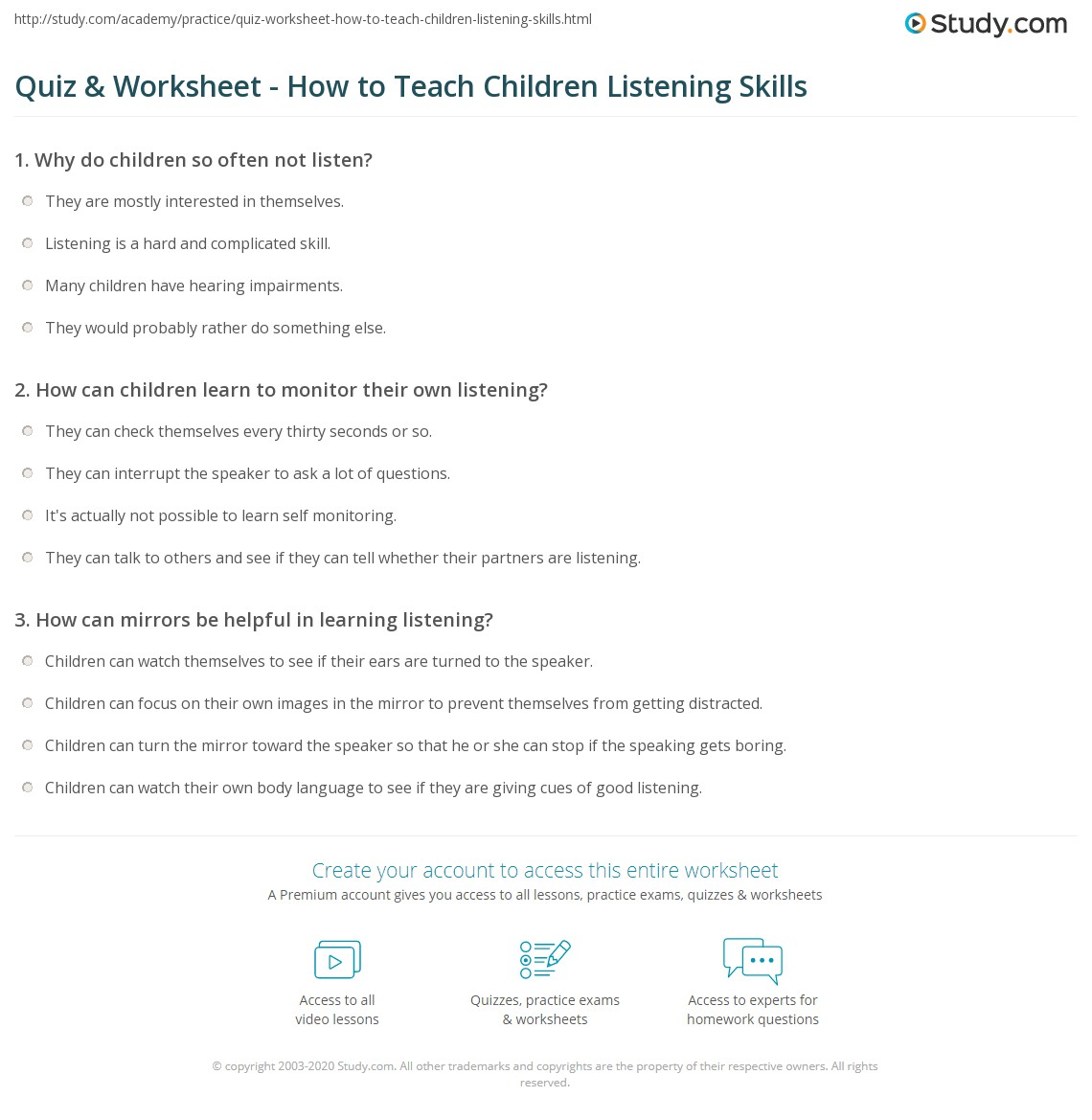 Quiz Worksheet How to Teach Children Listening Skills – Listening Skills Worksheets