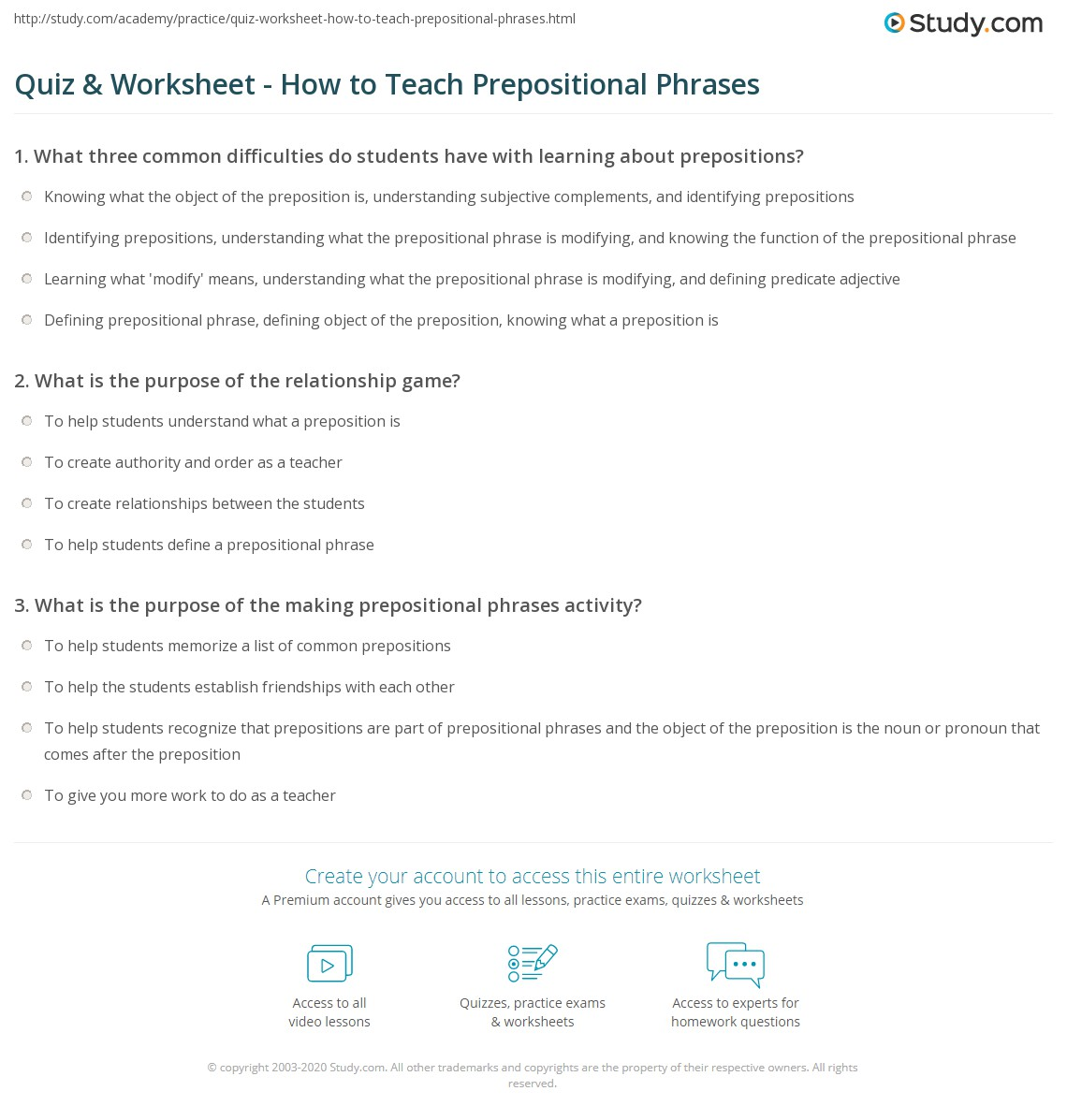 worksheet Prepositional Phrases Worksheets quiz worksheet how to teach prepositional phrases study com print teaching worksheet