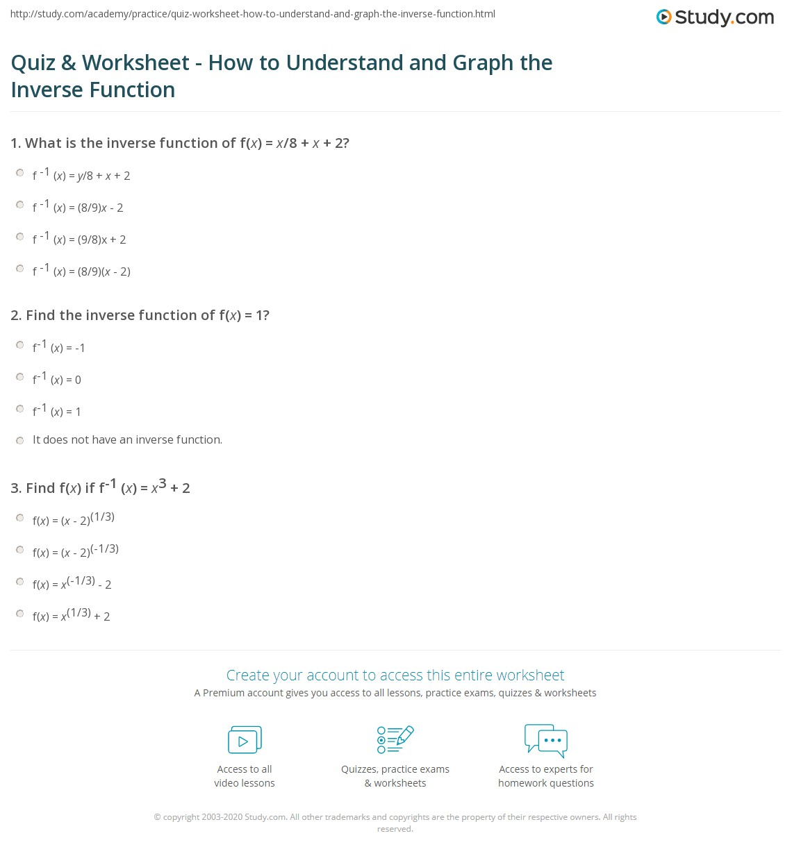Worksheets Inverse Function Worksheet quiz worksheet how to understand and graph the inverse print understanding graphing function worksheet