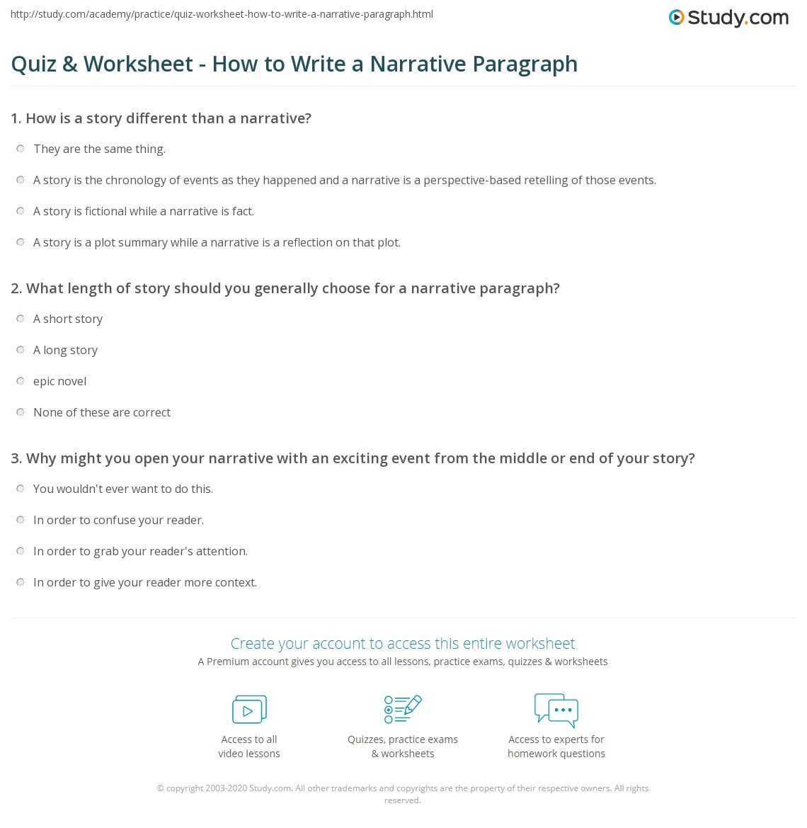 Quiz Worksheet How to Write a Narrative Paragraph – Paragraph Worksheets