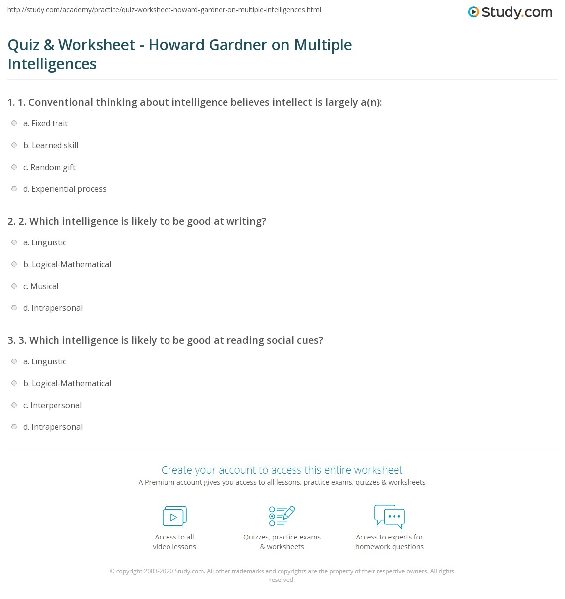 {Quiz Worksheet Howard Gardner on Multiple Intelligences – Multiple Intelligence Worksheet