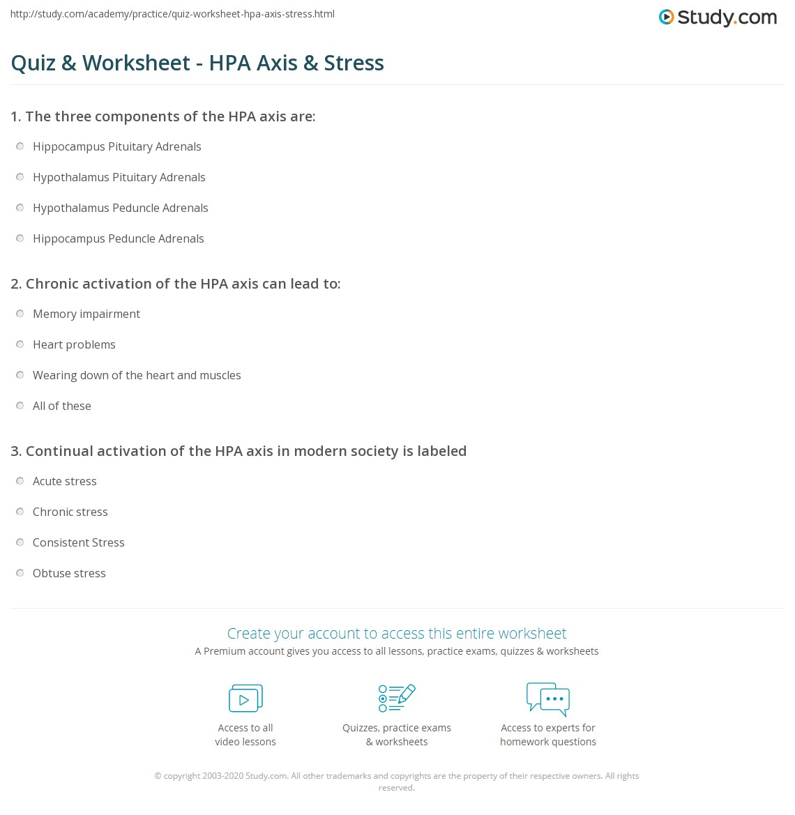 Quiz Worksheet HPA Axis Stress – Stress Worksheet