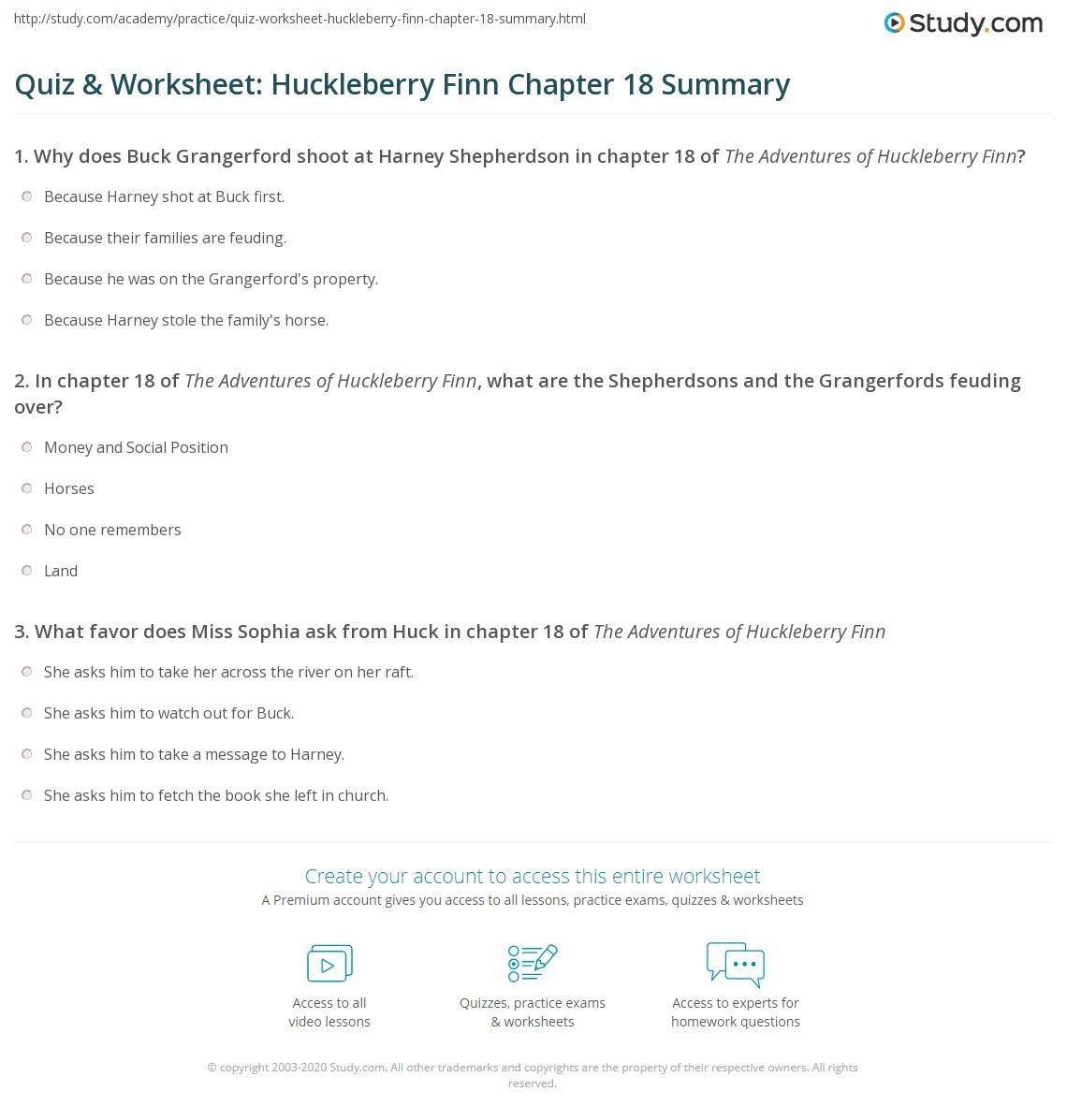 quiz worksheet huckleberry finn chapter summary com print the adventures of huckleberry finn chapter 18 summary worksheet
