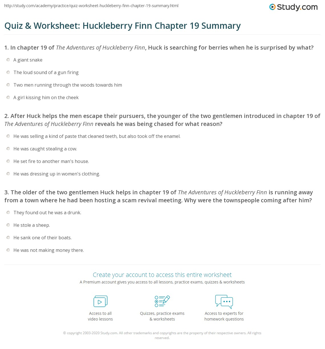 quiz worksheet huckleberry finn chapter summary com print the adventures of huckleberry finn chapter 19 summary worksheet
