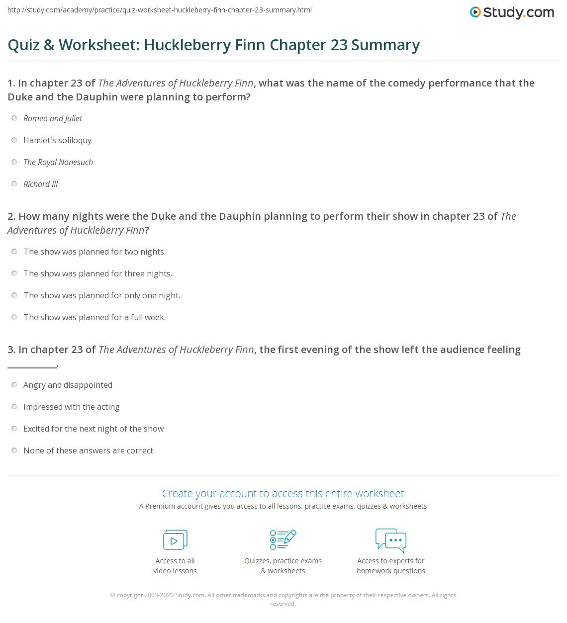quiz worksheet huckleberry finn chapter 23 summary com print the adventures of huckleberry finn chapter 23 summary worksheet