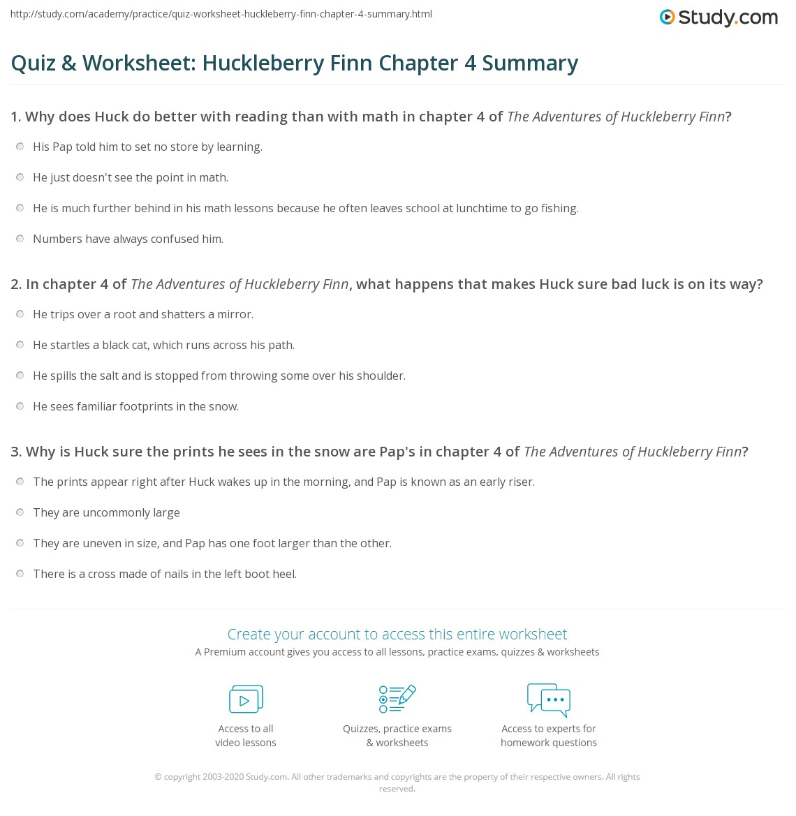Quiz Worksheet Huckleberry Finn Chapter 4 Summary – Reading Summary Worksheet