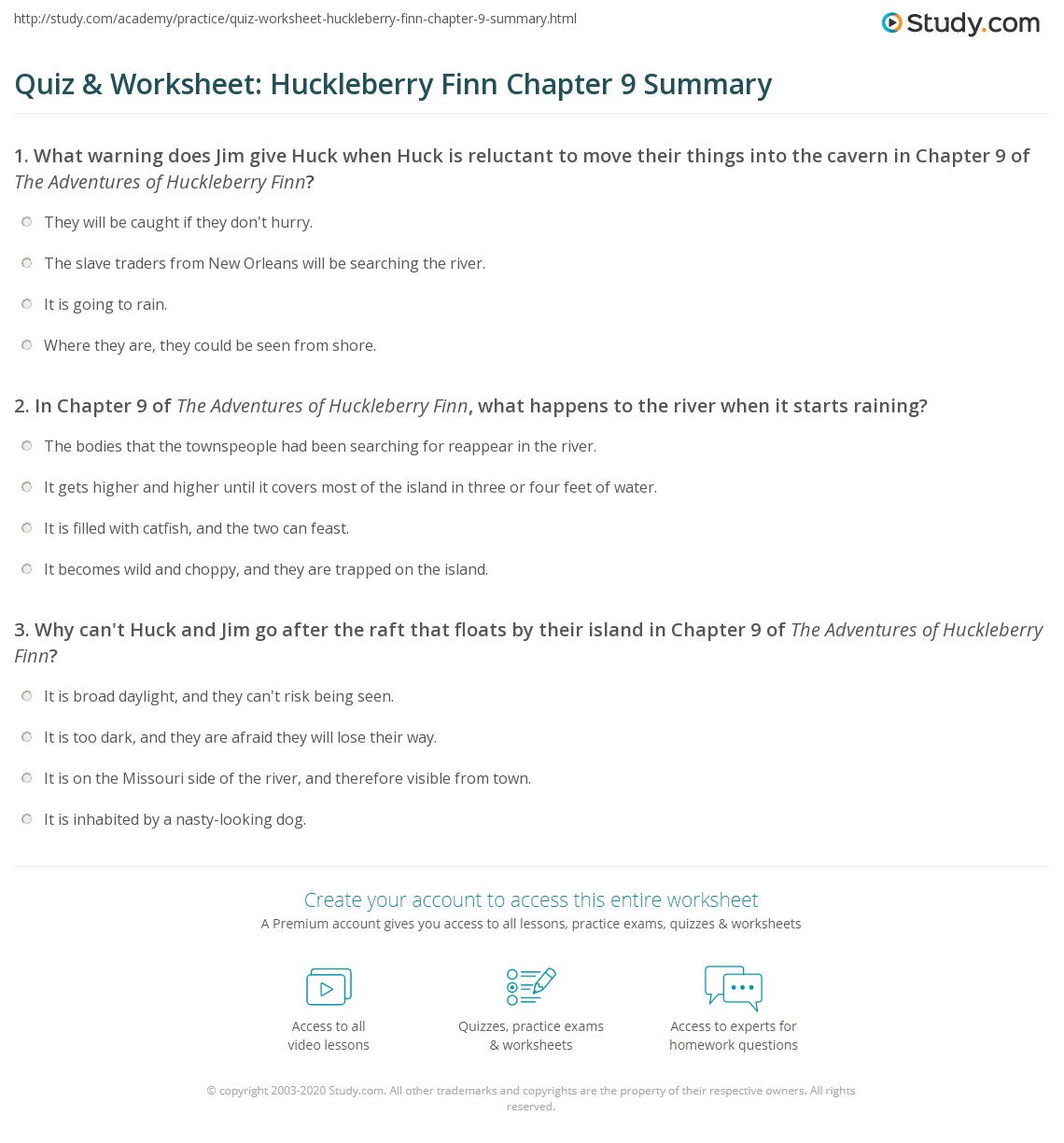 quiz worksheet huckleberry finn chapter 9 summary com print the adventures of huckleberry finn chapter 9 summary worksheet
