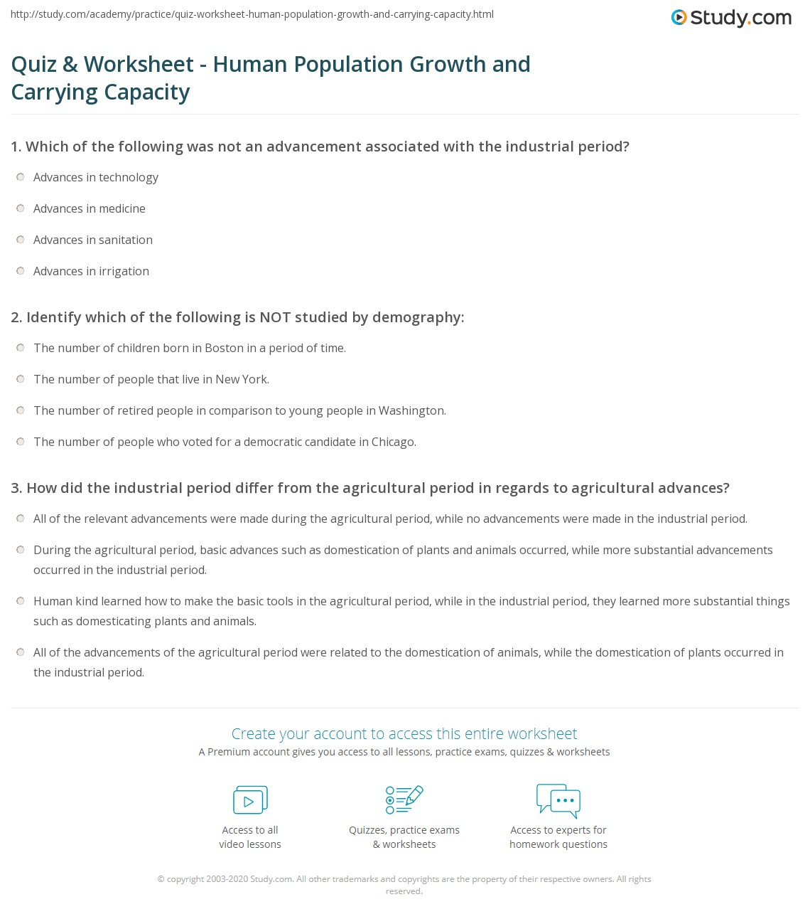 Quiz Worksheet Human Population Growth and Carrying Capacity – Population Growth Worksheet