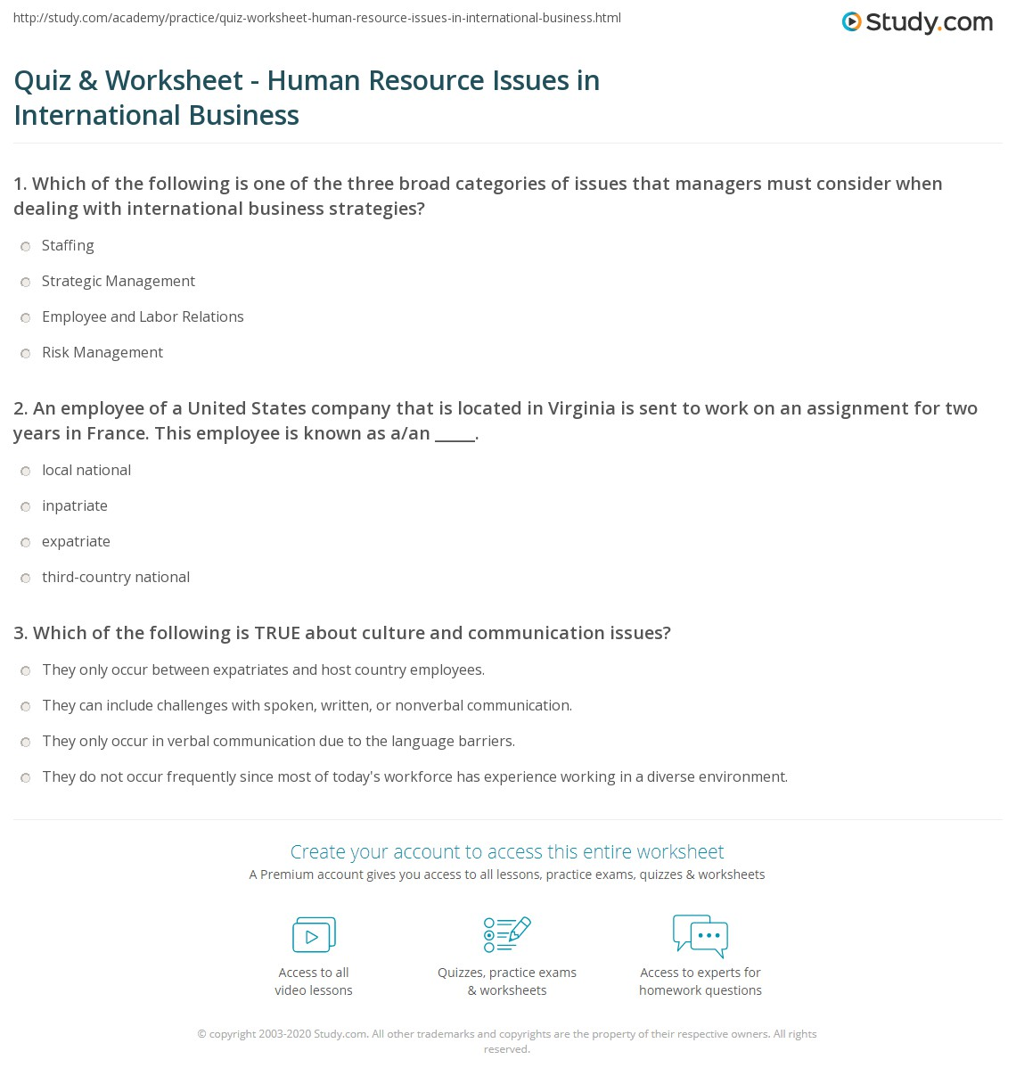 quiz worksheet human resource issues in international business. Black Bedroom Furniture Sets. Home Design Ideas