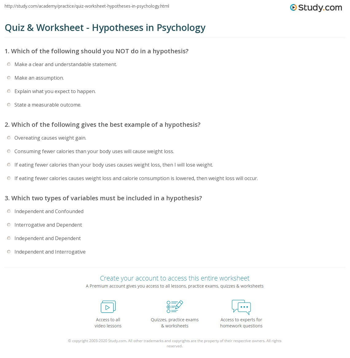 Printables Psychology Worksheets quiz worksheet hypotheses in psychology study com print what is a hypothesis definition explanation worksheet