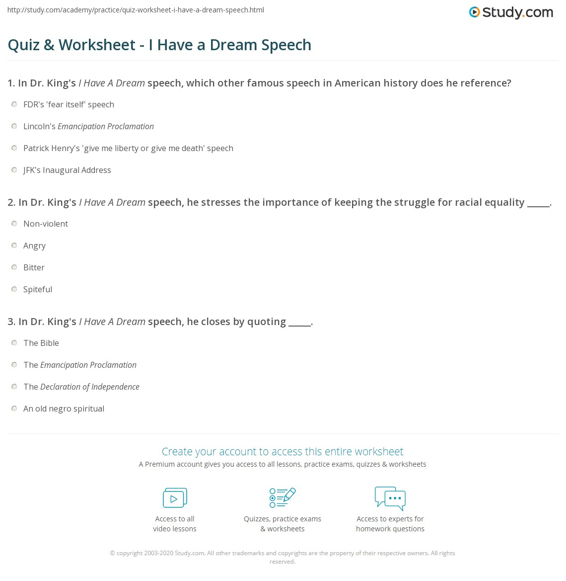 English teaching worksheets: I have a Dream