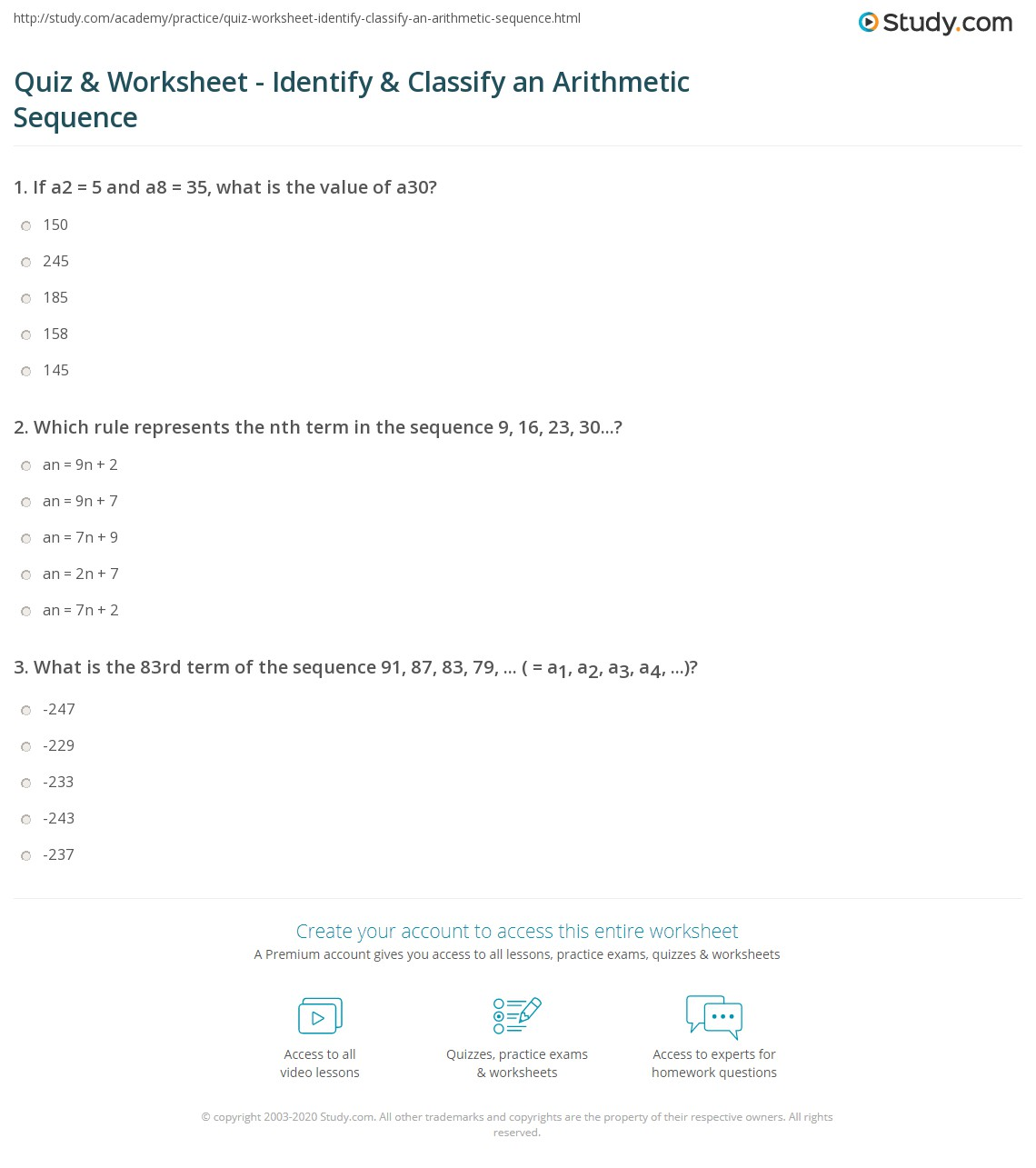 Quiz & Worksheet - Identify & Classify an Arithmetic Sequence ...